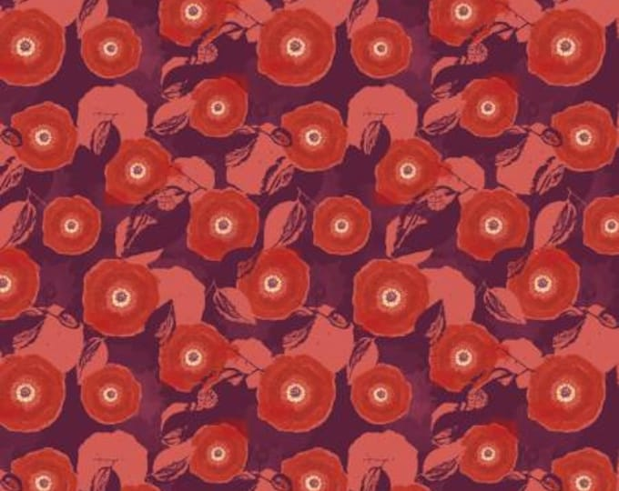 Mulberry Blooms  Poppy on Red Cotton Woven