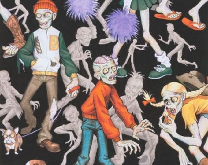 Alexander Henry Fabric - Zombie High Black Bright cotton woven fabric