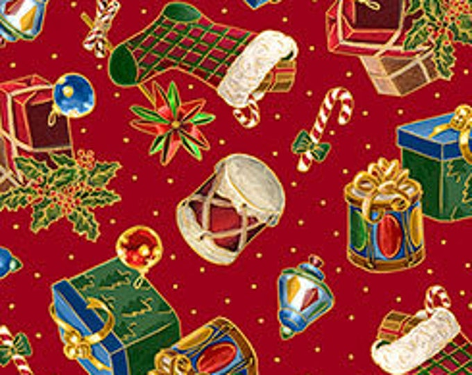 Quilting Treasures - Christmas Eve - Presents & Stockings on Red - Metallic Cotton Woven Fabric