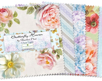 Wilmington Fabrics - Butterfly Haven by Danhui Nai - 5in Squares Butterfly Haven, 42 piece bundle, # Q508-555-508 Cotton Woven Fabric