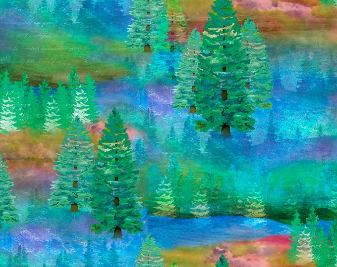3 Wishes Fabrics  - Wild & Whimsy by Connie Haley - Forest 14561-MULTI Cotton Woven Fabric