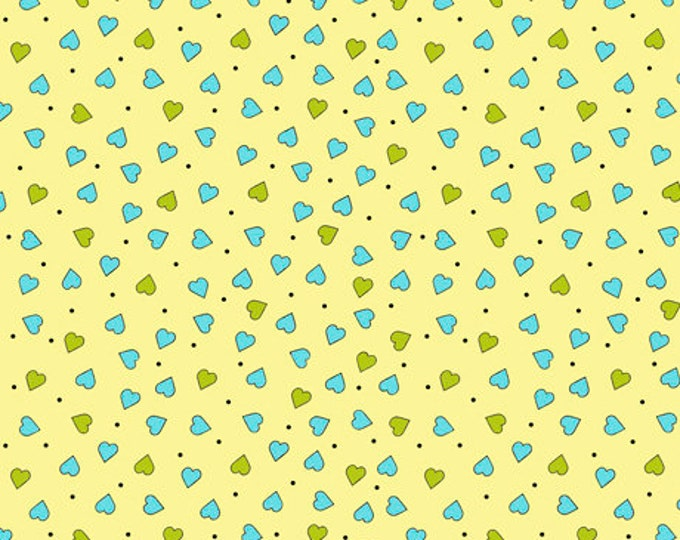 Quilting Treasures - Party Like a Unicorn from Desiree's Designs - Pale Yellow Tiny Hearts 26916S Cotton Woven Fabric