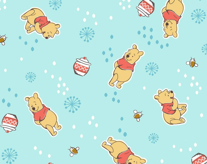 Springs Creative - Licensed Disney Winnie the Pooh - Pooh Toss Mint Green #67470A280715 - Cotton Woven Fabric