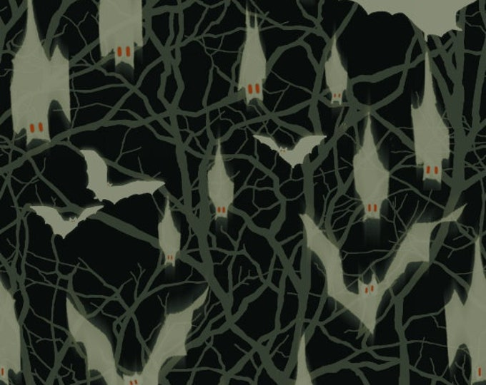 Blank Quilting - Fright Night Glow-In-The-Dark -  Bats Cotton Woven Fabric
