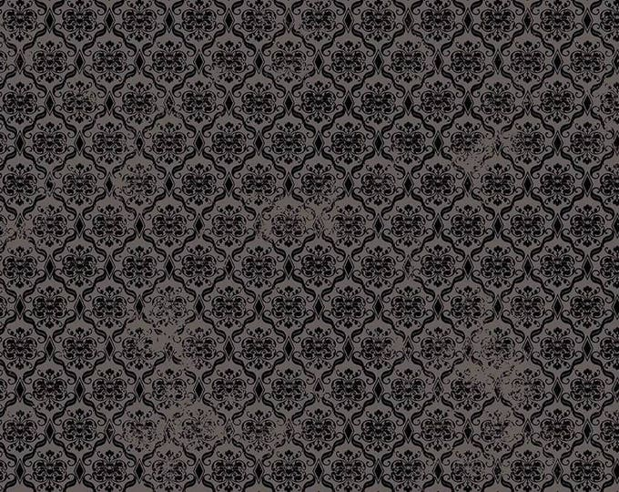 Santoro, Birds of a Feather, Damask Black cotton woven fabric by Quilting Tresures