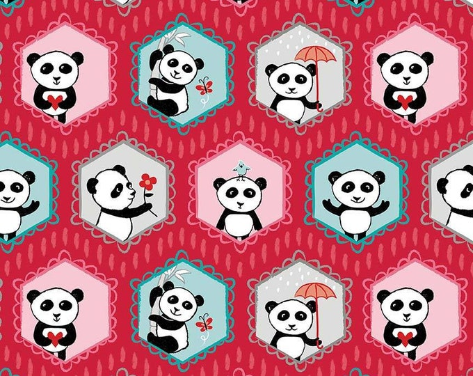 Riley Blake Fabric - Panda Love - Panda Bears on Red cotton woven fabric