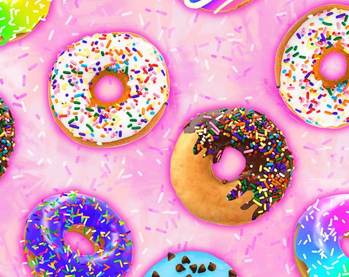 Timeless Treasures - Pink Donuts # C7385-PINK - Cotton Woven Fabric