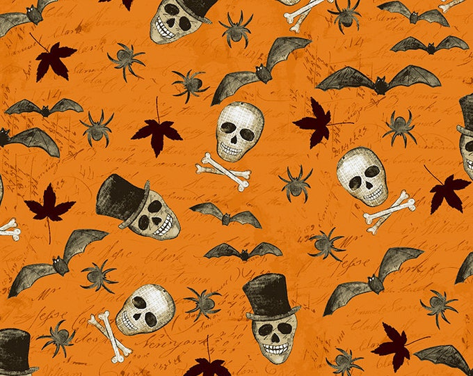 Clothworks - Something Wicked - Wicked Motif on Orange - Cotton Woven Fabric - y2427-36
