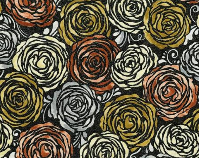 Candied Roses- Radiant Rose Gold Metallic Cotton Woven Fabric Flaurie & Finch for RJR