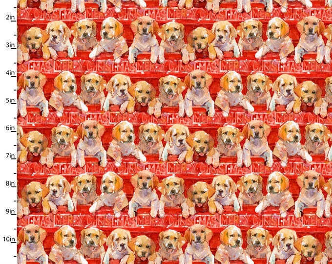 3 Wishes Fabric - Santa's Helper - Red Puppies in Trucks 15123-RED Cotton Woven Fabric