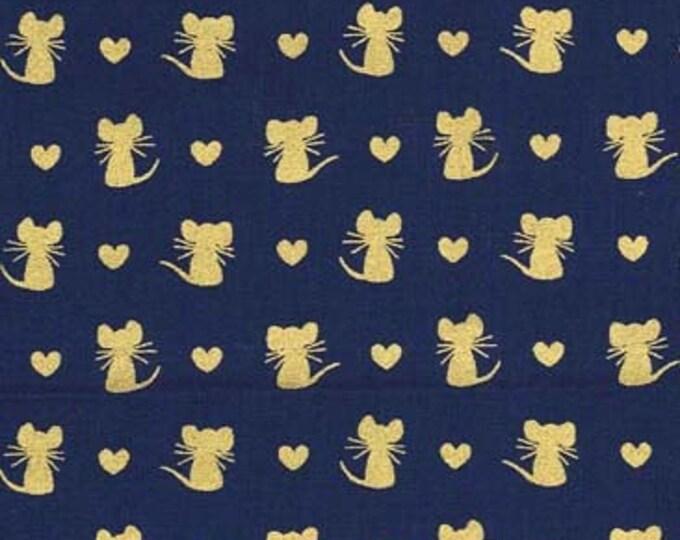 Michael Miller Fabrics - Glitter Crittters - Navy Nice Mice Metallic Cotton Woven Fabric