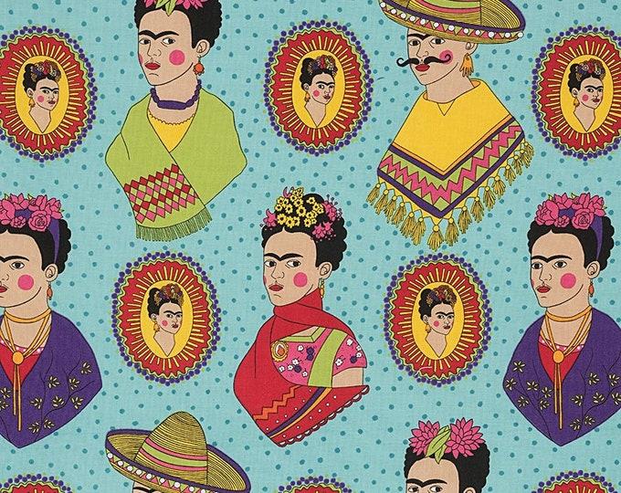 Alexander Henry Fabric - Fantastico Frida - Turquoise - Cotton Woven Fabric