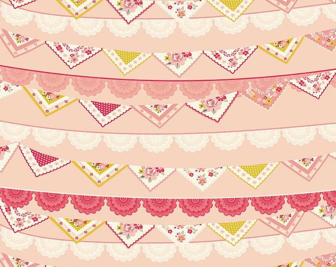 Riley Blake Fabric - Vintage Day Dream -   Bunting Banner Pink Cotton Woven Fabric