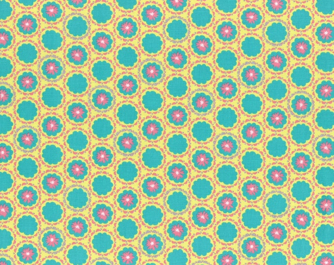 Lecien Radiant Girl, Aqua, Pink and Yellow Flower Cotton Woven