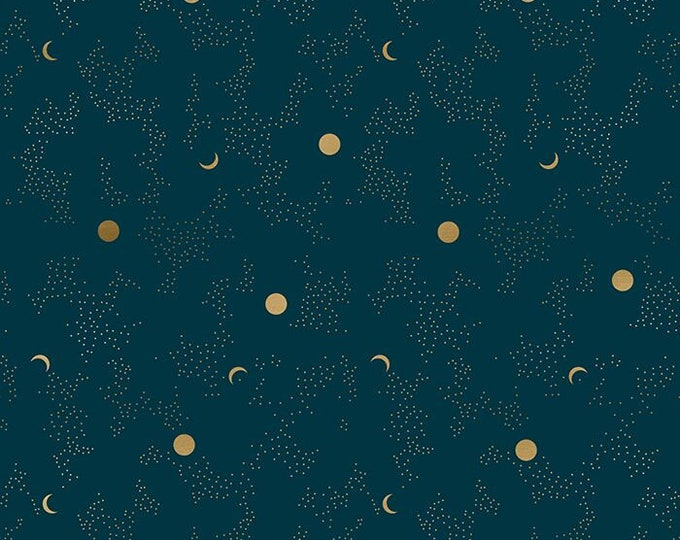 """Moda Fabrics - Tiger Fly by Sarah Watts of The Ruby Star Society - 24"""" Repeat Metallic Dark Teal #RS2013 13M - Cotton Woven Fabric"""