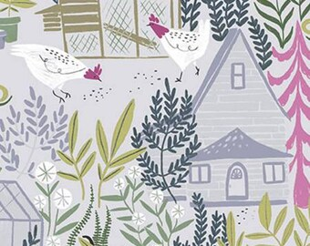 Dear Stella - Garden Sanctuary by Rae Ritchie - Vapor Sanctuary chickens and garden,   Cotton Woven Fabric