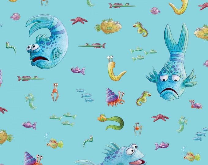 Riley Blake - Licensed Pout Pout Fish Main Aqua # C8250R-AQUA Cotton Woven Fabric