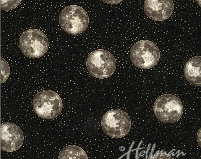Hoffman Cats - Gold Moons on Black - Metallic Cotton Woven Fabric