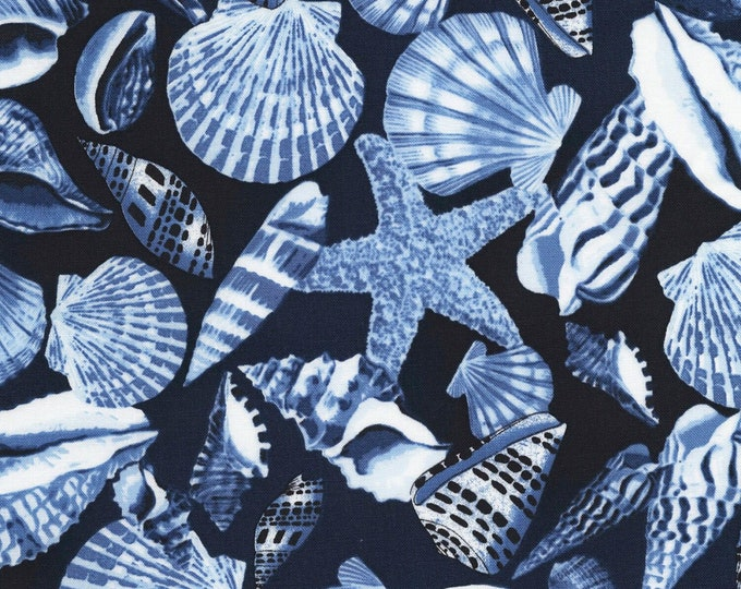 Timeless Treasures - Navy Seashells #C6657-NVY Cotton Woven Fabric