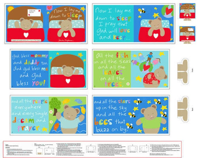 "StudioE - Huggable and Lovable VI by Sandra Magsamen - Sleep Book 4612P-1 36"" Panel Cotton Woven Fabric"