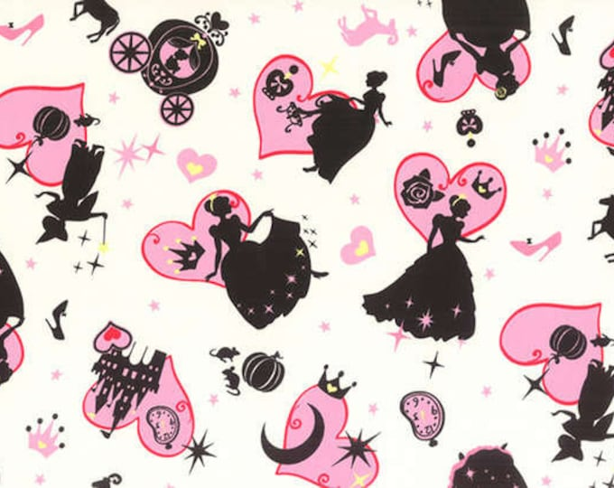 CLEARANCE -    ! Lecien - A Girl's Story - Cinderella on Pink Cotton Woven Fabric . Out of Print ! 1 Yard Listing
