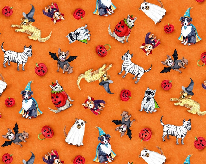 Michael Miller Fabrics - Howl-O-Ween by Casey Krimmel - Spooky Poochy Orange # DC8935-ORAN - Cotton Woven Fabric