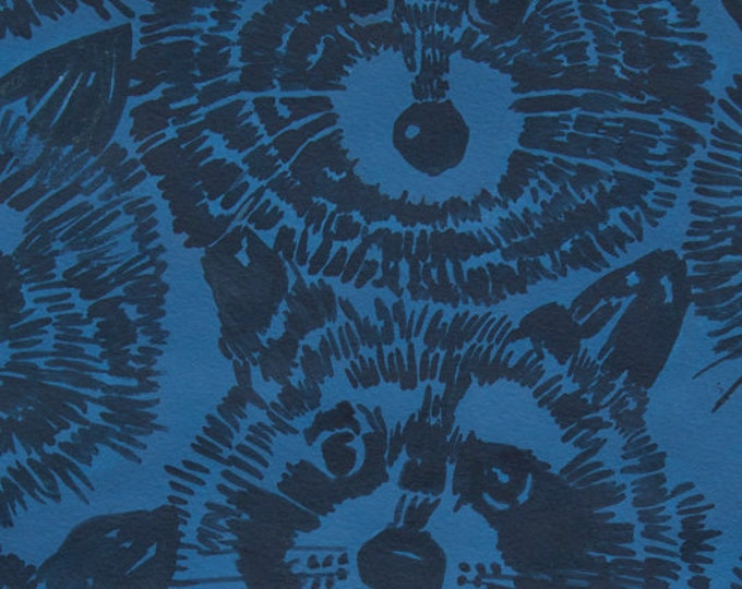 Alexander Henry Rocky Raccoon Blue Cotton KNIT Fabric
