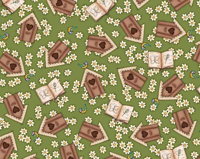 Santoro, Birds of a Feather, Birdhouses on Green cotton woven fabric by Quilting Tresures
