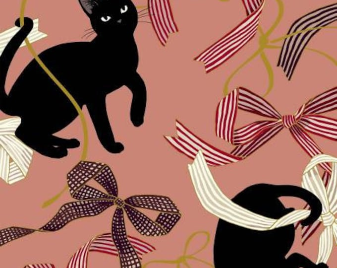 Quiltgate Fabrics - Hakka Ryoran Neko 4 - Cats & Ribbon - Peach - Metallic Cotton Woven Fabric from Japan
