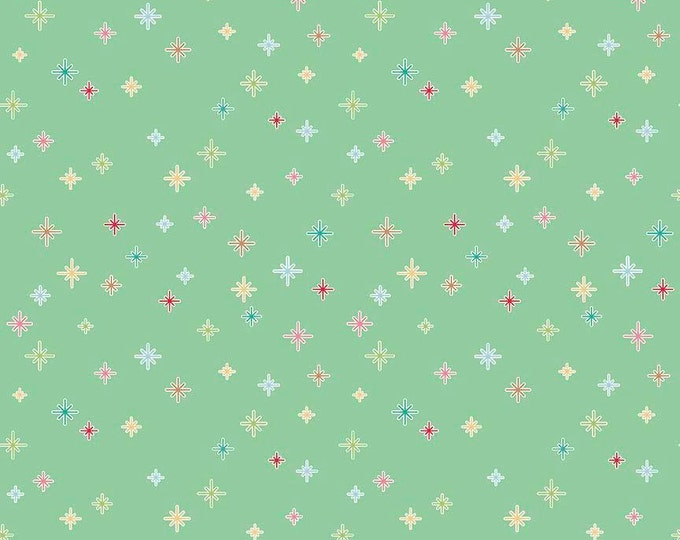Cozy Christmas Sparkle Mint Cotton Lycra fabric, by Riley Blake