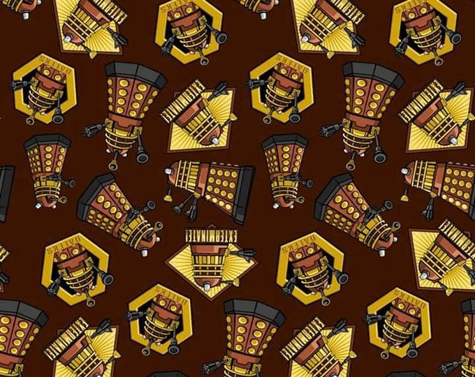 CLEARANCE - Springs Creative - Dr. Who Exterminate Daleks on Brown Cotton Woven Fabric - Price is per yard
