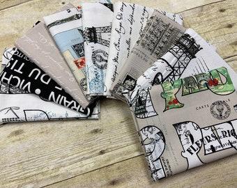 Riley Blake Designs - Couturiere Parisienne by J. Wecker Frisch - Fat Quarter Bundle of 9 prints as shown - Cotton Woven Fabric