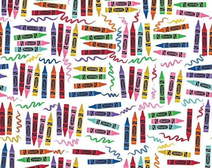 Crayola Art Box Crayons on White Cotton Woven by Riley Blake Designs