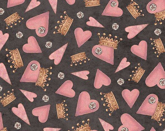 Hearts and Crowns on  Black - Santoro, All For Love Cotton Woven by Quilting Treasures