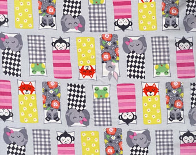Michael Miller Fabrics  - Road Trip Happy Campers on Pink cotton woven fabric