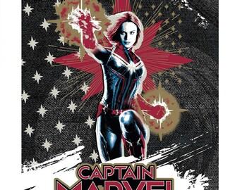"Camelot Fabrics - Licensed Captain Marvel - Multi 36"" Panel #13020605P-1 Cotton Woven Fabric"