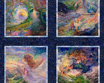 """3 Wishes Fabric - Ray of Hope by Josephine Wall - 36"""" Small Panel Digitally Printed # 16047-MUL - Cotton Woven Fabric"""