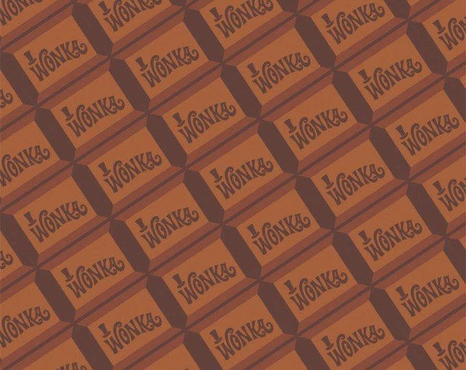 Camelot Fabric - Licensed Willy Wonka and The Chocolate Factory - Brown Willy Wonka Chocolate   23230109-2Cotton Woven Fabric