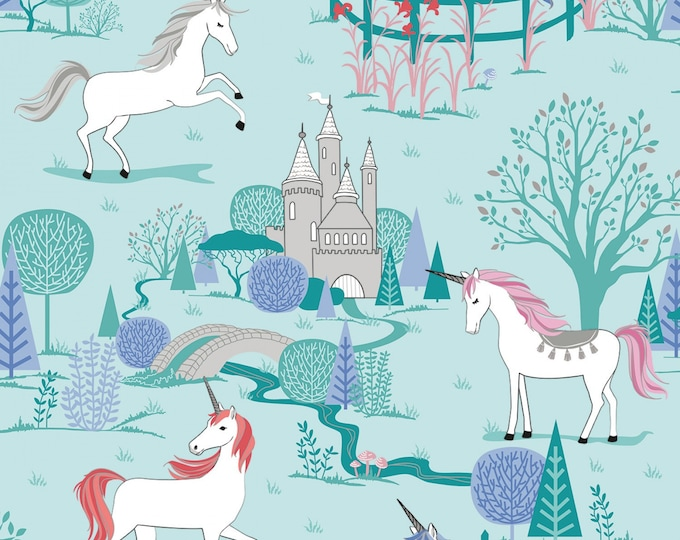 Riley Blake - My Unicorn by Kelly Panacci -Main Mint with Sparkle   #SC8200R-MINT Cotton Woven Fabric