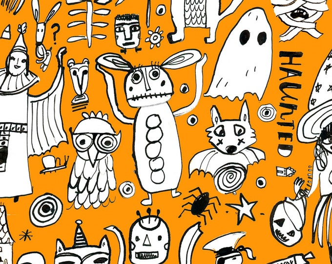 Dear Stella - Orange Creep It Real Halloween #ST-DAW1208OR - Dear Stella - July Cotton Woven Fabric