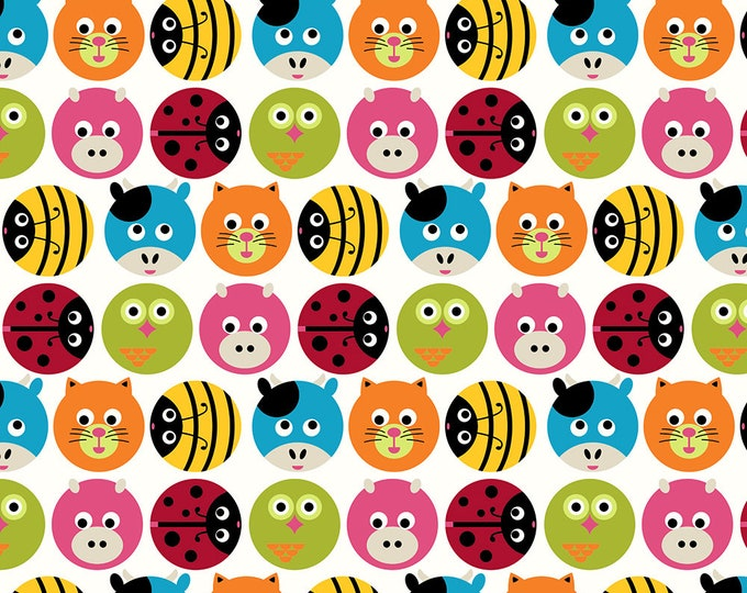 Stof Fabrics - Avalana Knits - Circles with Heads of Animals, Birds & Insects in Multi Colors on Off-White - 19-191 - Cotton/Spandex Knit