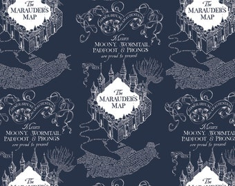Camelot Fabric - Licensed JK Rowlings Harry Potter -  Blue Marauders Map on Flannel # 23800130B-2 100% Cotton Flannel