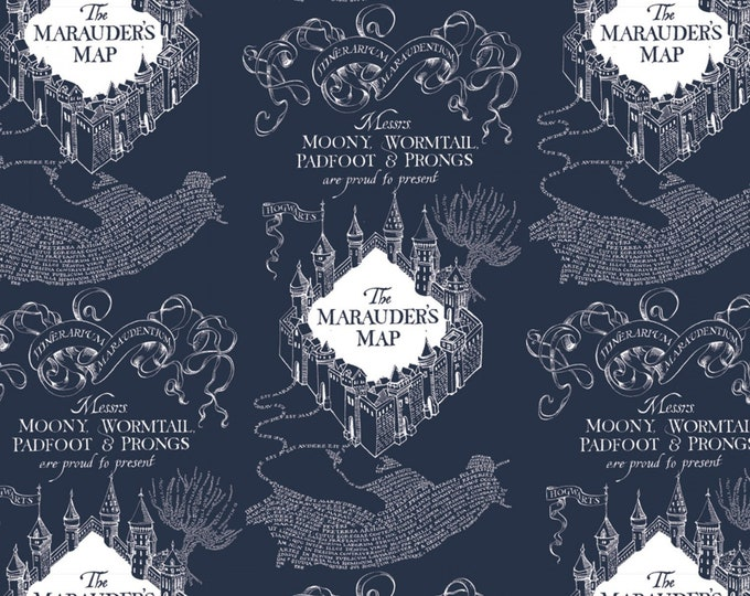 Blue Marauders Map on Flannel # 23800130B-2-Licensed JK Rowlings Harry Potter 100% Cotton Flannel by Camelot