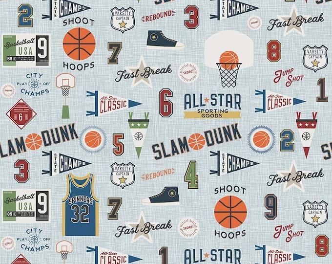 Riley Blake Fabrics - Varsity - Basketball Allover - Cotton Woven Fabric
