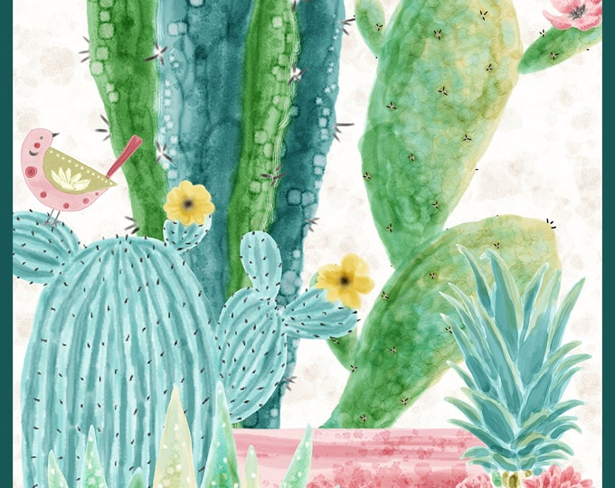 Blank Quilting - Sun N Soil by Hope Yoder - Cactus Panel 9445P-41 Cotton Woven Fabric