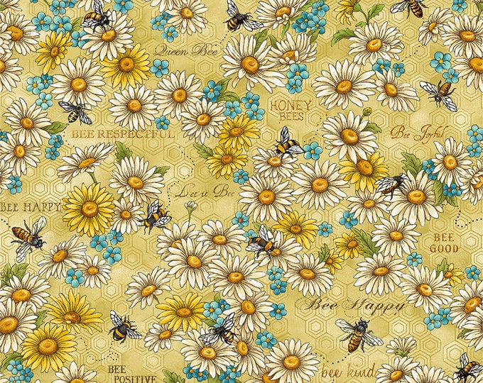 Paintbrush Studio - Bee Kind - Yellow Daisies & Bees # 120-99201 Cotton Woven Fabric