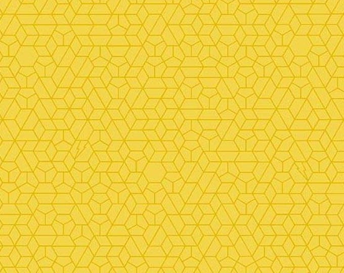 Libs Elliott, Tattooed Yellow Little Hex Cotton Woven, A-8442-MY, by Andover Fabrics