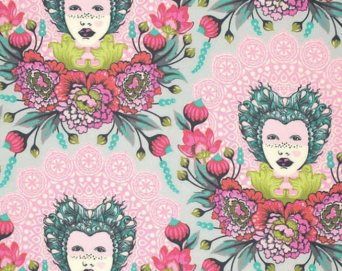 Tula Pink  - Out of Print - Elizabeth, Selfie in Tart pink Cotton Woven Fabric - Sold by the 1/2 yard
