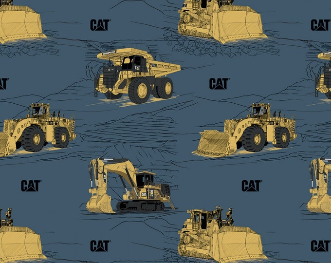 Riley Blake Designs - CAT by Caterpillar - Main Blue # C9100R-BLUE - Licensed Cotton Woven Fabric