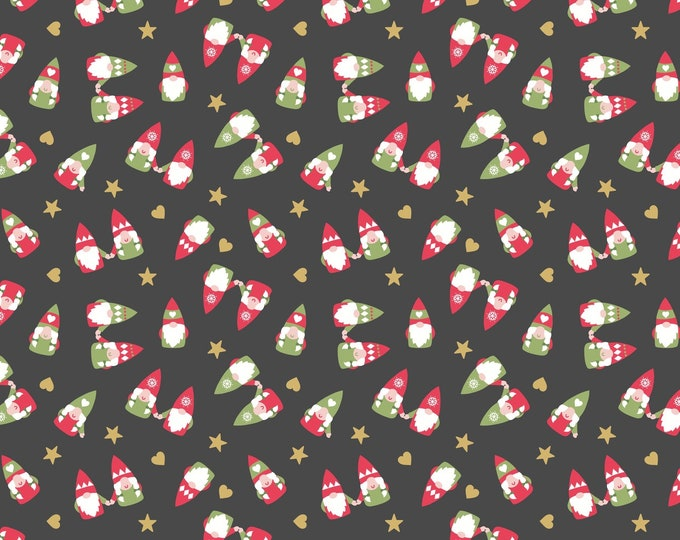 Hygge Christmas - Scattered Tonttu - Slate - Cotton Woven Fabric - Blank Quilting - C29.3